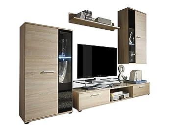 Wohnwand Salsa Design Mediawand Modernes Wohnzimmer Set Anbauwand Hngeschrank Vitrine TV Lowboard Mit Blauer LED Beleuchtung Sonoma Eiche