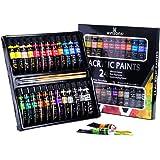 WINSONS Peinture Acrylique Enfant£¬24 Tubes de Couleurs (12 x 12ml,0.4 Oz) Peinture Acryliques avec 3 Pinceaux Premium Pigmen
