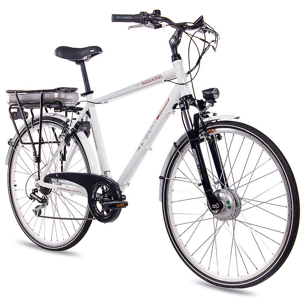 CHRISSON 28 Zoll E-Bike Trekking und City Bike für Herren – E-Gent Weiss mit 7 Gang Acera Kettenschaltung – Pedelec Herren mit Bafang Vorderradmotor 250W, 36V