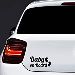 Autodomy Baby On Board Baby An Bord Füße Baby In Car Aufkleber Paket 2 Stück Für Auto Schwarz Auto
