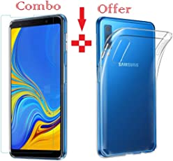Azzil Tempered Glass & Back Cover Premium Quality Soft -Combo Transparent- Perfect Fit Case Cover for Samsung Galaxy A7 2018