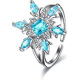 EVER FAITH Anello Donna Accessorio invernale Fiocchi di neve scintillanti Anello regolabile con Zircone lampeggiante e 925 Ar