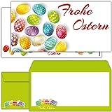 12 Osterkarten EDLE OSTEREIER mit Umschlag im Set - große Premium Frohe Ostern Grußkarten in DIN lang für Privat und Geschäft von BREITENWERK