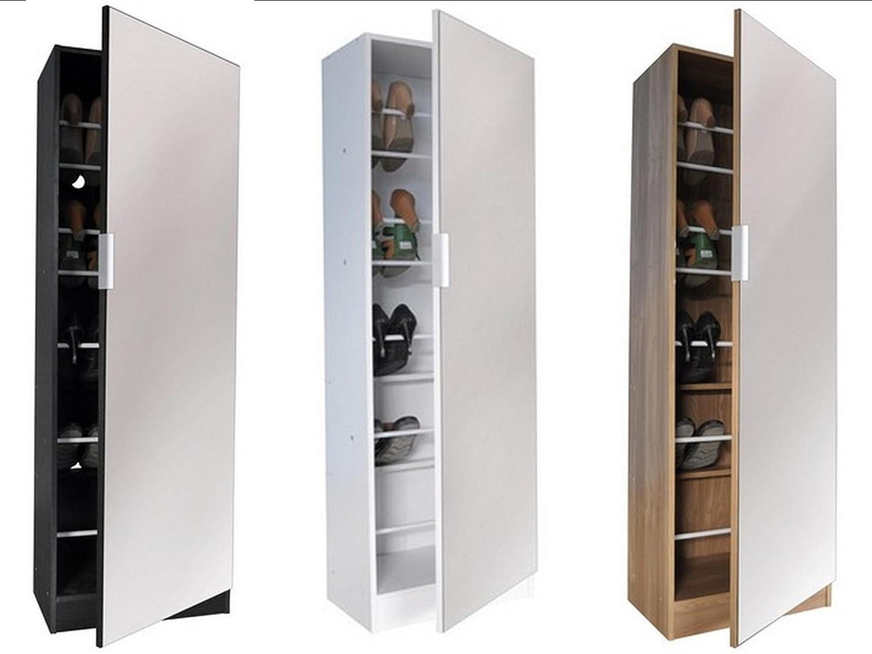 5ft Mirrored Shoe Cabinet in White, Black or Oak - Shoe Storage ...