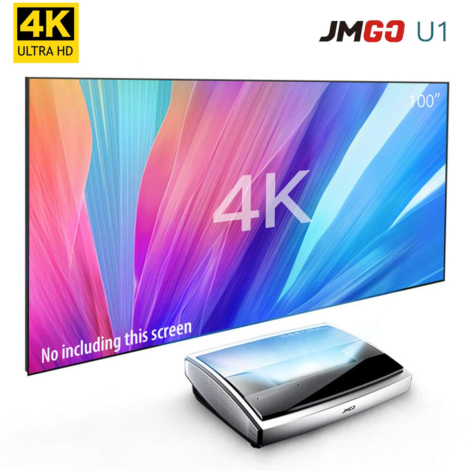 4K Projector, LiveTV Direct Enhanced JmGO U1 Laser Ultra Short Focus Native  4K UHD Android 3D Smart Laser TV Home Theater Projector Built-in Hi-FI