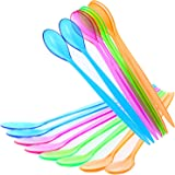 com-four® 16x cuchara de postre de plástico - cucharas de cóctel coloridas - cuchara de mango largo para el postre - cuchara
