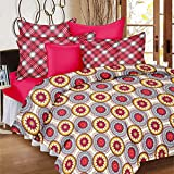 Ahmedabad Cotton Comfort Cotton Double Bedsheet with 2 Pillow Covers - Pink