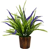 Fancy Mart Fabric, Wood & Plastic Artificial Fern Grass Bush in Wood Round Pot (32 cm, Multi-Color)