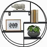 Gadgy Etagere Murale Ronde | Metal Noire | Étagère Murale Industrielle Design | Deco Maison Moderne | Decoration pour Le Salo