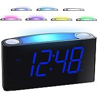 RéveilNumérique,HorlogeduMatinavec7PoucesAffichageLED,7Veilleusescolorées,Alarme Volume/LuminositéRéglable,2 Port USB,12/24H,RéveilDigitalepourChambre,Personnesâgées,DormeursProfond