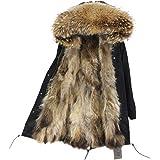 Lea Marie Parka XXL para mujer, cuello de piel auténtica 100%, abrigo de piel de zorro con forro interior de piel de zorro
