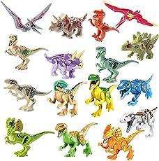 DAN DISCOUNTS Kinder Dinosaurier Figuren Spielzeug, 16 Stück Dino Bausteine Spiele Sets Dinosaurier World Tiere Kunststoff Spielzeug für Jungen Mädchen Kinder