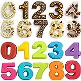 Dubens 10 stuks (cijfers 0-9) siliconen cakevormen set, groot aantal bakvormen, siliconen bakvorm, voor verjaardag, bruiloft,