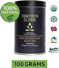 Teamonk Darjeeling Bodh Second Flush Organic Black Tea for Energy Booster, 100g (50 Cups)