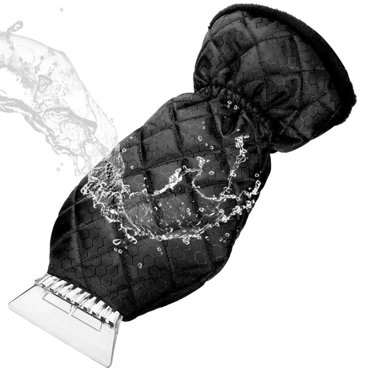 MATCC Grattoir à Glace avec Gant doublure chauffante Pare-brise Neige Grattoir Elastique Enserré Raclette Pare Brise