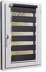 Fensterrollo Doppelrollo Duorollo Sonnenschutz Sichtschutz mit Kettenzug und Klemmfix