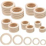 Houten ringen, 50 stuks natuurlijke houten ringen voor ambachtelijke 5 maten ronde ringen voor ambachtelijke doe-het-zelf sie