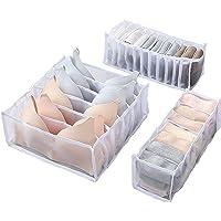 JOLIGAEA Lot de 3 Organisateur de Tiroir Diviseurs de Tiroir de sous-vêtements Lavable Pliables, Boîte de Rangement pour…