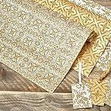 Geschenkpapier mit Geschenkanhängern gold 6tlg.