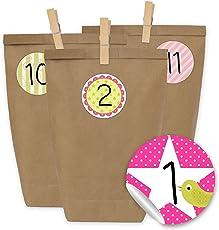 Papierdrachen 24 Adventskalender Kraftpapiertüten, Zahlenaufkleber und Klammern - DIY Set zum selber Basteln und zum Befüllen für Kinder und Erwachsene