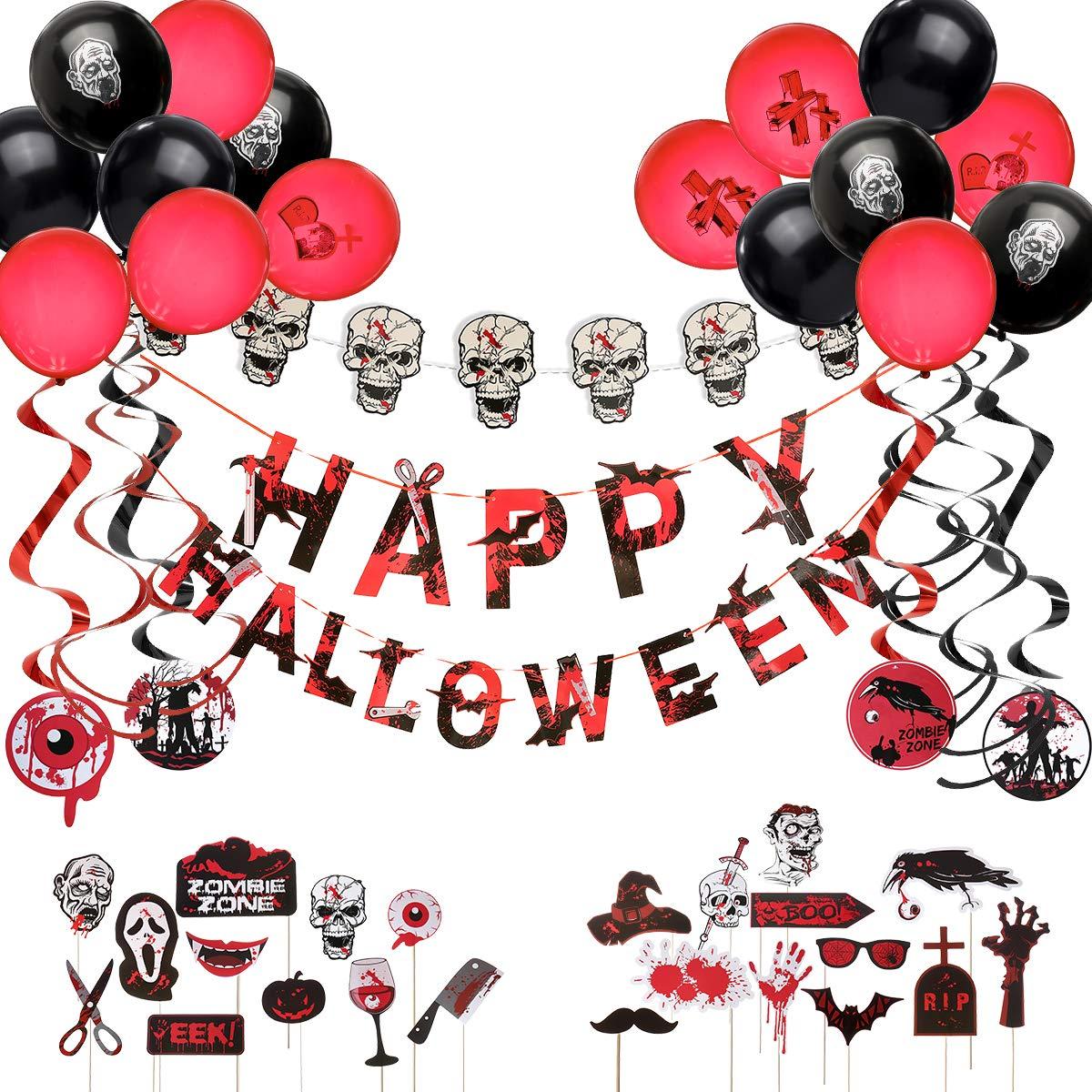 ARTISTORE Happy Halloween Fahne, Halloween Dekoration Schwarze und rote Ballone, Spiralband, Schädel-Schnur mit Lichtern…