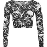 WearAll New Womens Skull Roses Print Long Sleeve Short Stretch Ladies Crop Top UK 8-14 (Skull Roses, S-M UK)