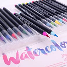 Climberty Washable Nontoxic Durable Watercolor Brush Marker Pen Set with 1 Refillable Waterbrush for Portable Painting - Pack of 20