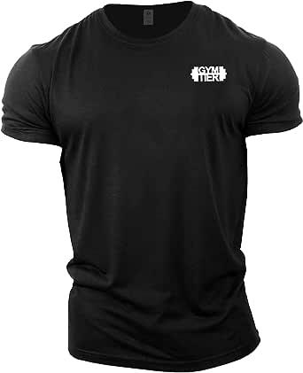 GYMTIER Mens Bodybuilding T-Shirt - Plain Badge - Gym Training Top