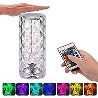 Puhui LED Tischlampe aus Kristall, Moderne Kreativität Acryl Diamant Nachttischlampe Touch und Dimmbar [16 Farben & 4…