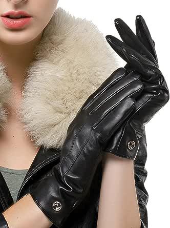 Nappaglo donne classico i guanti di cuoio italiano di pelle inverno caldo puro cashmere guanti da guida (touchscreen o non touchscreen)