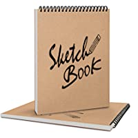 Coolzon Carnet de Dessin A4 Cahier de Dessin Professionnel, Carnet de Croquis A4 Double Spirale Crayon a Papier pour…