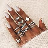 Simsly Juego de anillos de corazón bohemio, de plata, para nudillos, apilables, para mujeres y niñas (paquete de 10)