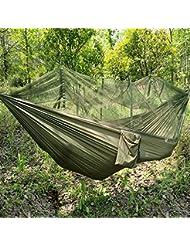 Jungle Hamac avec moustiquaire, portable Cordon extérieur Mosquito Barre de couchage Hamac Lit double Vert à suspendre Lit pour le camping et la randonnée