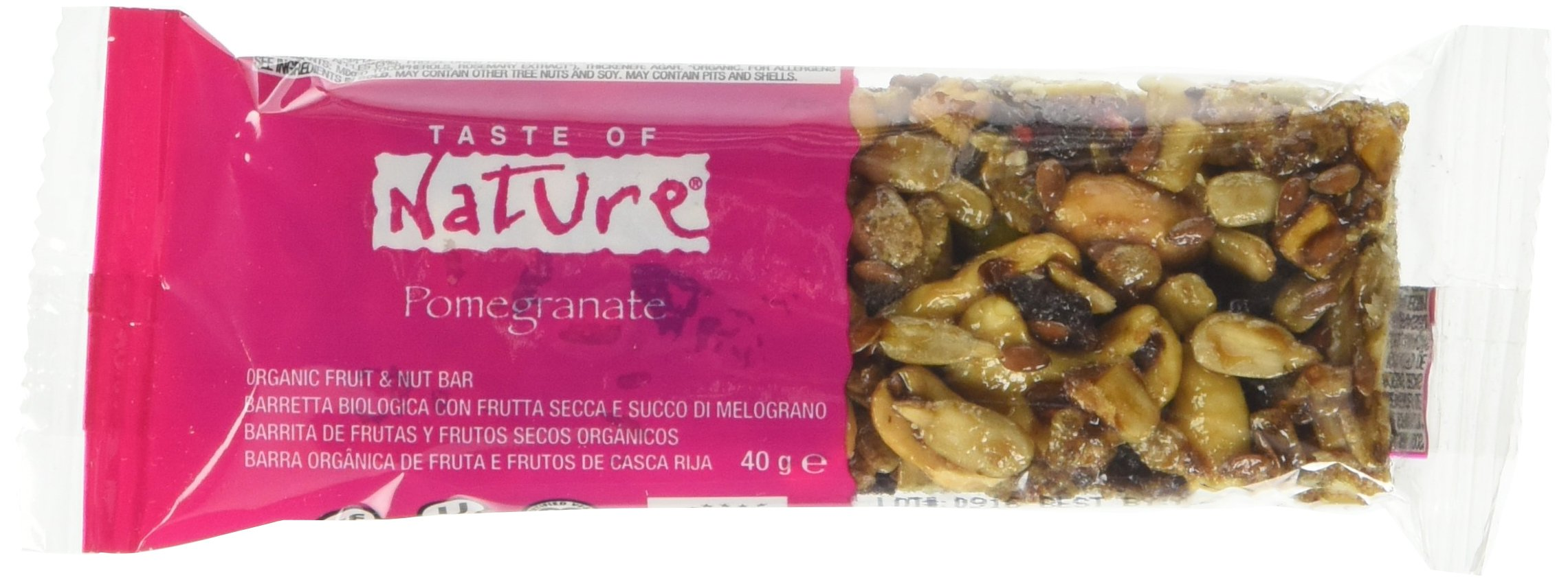 Taste Of Nature Barretta al Succo di Melagrana - 40 gr, Confezione da 16 pezzi
