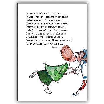 1 Valentinskarte: Kleine Schöne, Küsse Mich.. Romantische Kuss Liebes Karte  Mit Lessing