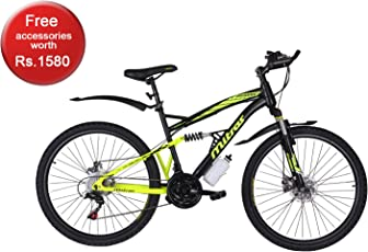 Mitras Egress 26 Inches (Black) 21 Speed Shimano Gears - Dual Suspension Mountain Bicycle For Kids (11-18 Years)