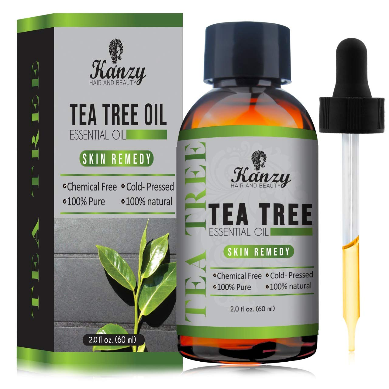Kanzy Essential Tea Tree Oil Treatment for Face, Hair, Nail, Acne & Blemishes Pure Natural VEGAN – 60ML