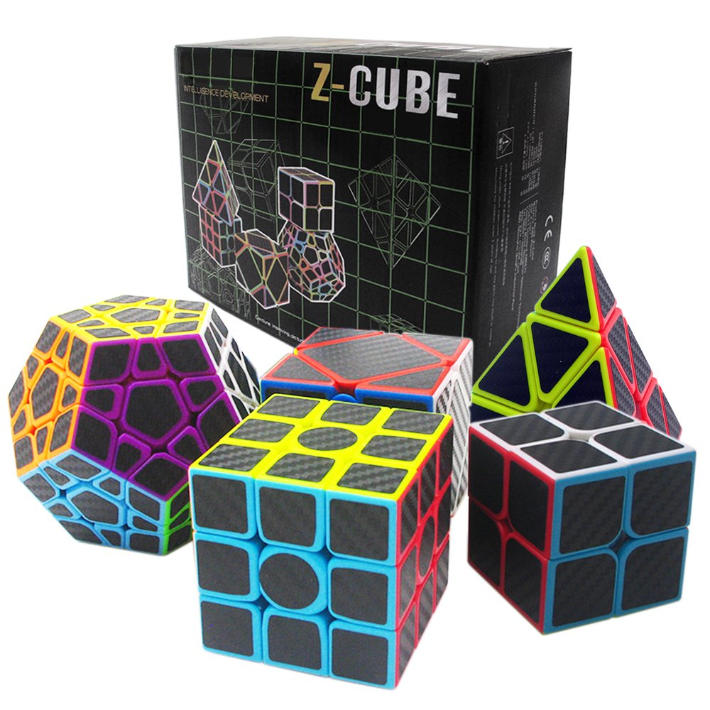 Fibra del Carbón Cubo mágico cajas de regalo Set 2x2x2,3x3x3,Meganminx ,Skewb , Pyraminx Juguete profesional del cubo…