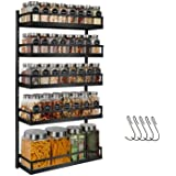 X-cosrack Spice Rack Wandmontage, 5 niveaus in hoogte verstelbare kruidenorganizer plank opslag voor keukenkastdeur, tweeërle