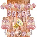 Bride Party Decorations Kit- Rose Gold Foil Fringe Curtain, 20 Latex Balloons, 10 Confetti Balloon, Bride and Ring Heart Roun