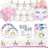 Pack Cumpleaños Unicornio para Infantil Niña y Adultos Mujer-Set de Decoración Cumpleaños con Globos,Guirnalda Feliz Cumpleañ