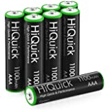 HiQuick 8 x AAA Rechargeable Batteries, Rechargeable 1100mAh Battery, Ni-MH 1200 Recycle Times, High Capacity Performance, Pa