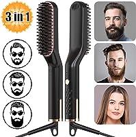 Männer Schnelle Bartkamm Glattes Haar kämmen, AMTOK Männer Electric Heated Beard Straightener Comb Brush, Männer...