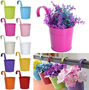 10 X Métal Fer Pot de fleurs suspendus Balcon Jardin Plant Planter Home Decor
