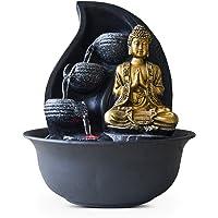 Zen Light Praya Fontaine d'Intérieur avec Pompe et Eclairage LED, Résine, Gold