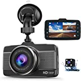 Claoner Dash Cams for Cars Front and Rear 1080P Full HD Dashcam, Dual Dash Cam with F1.8 Night Vision 170°Wide Angle 3 Inch I