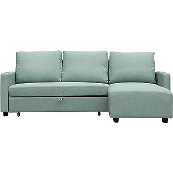Furniture 247 L-Shaped Sofa, Interchangeable, 136 x 223 x 90cm, Green