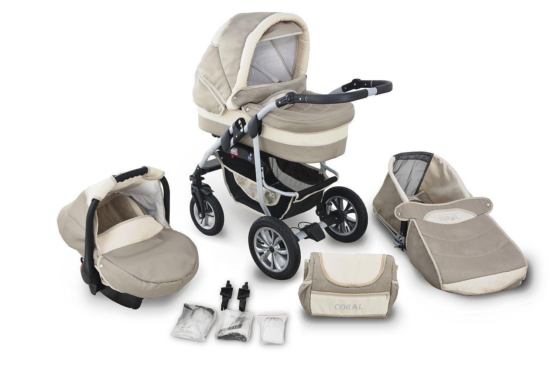 Clamaro 'CORAL 2019' Kinderwagen 3in1 Kombi System (24 Farben) mit Babywanne, Sport Buggy und Auto Babyschale (ISOFIX), Luftreifen, einstellbare Federung, 360° Schwenkräder, EASY-STOP Bremse