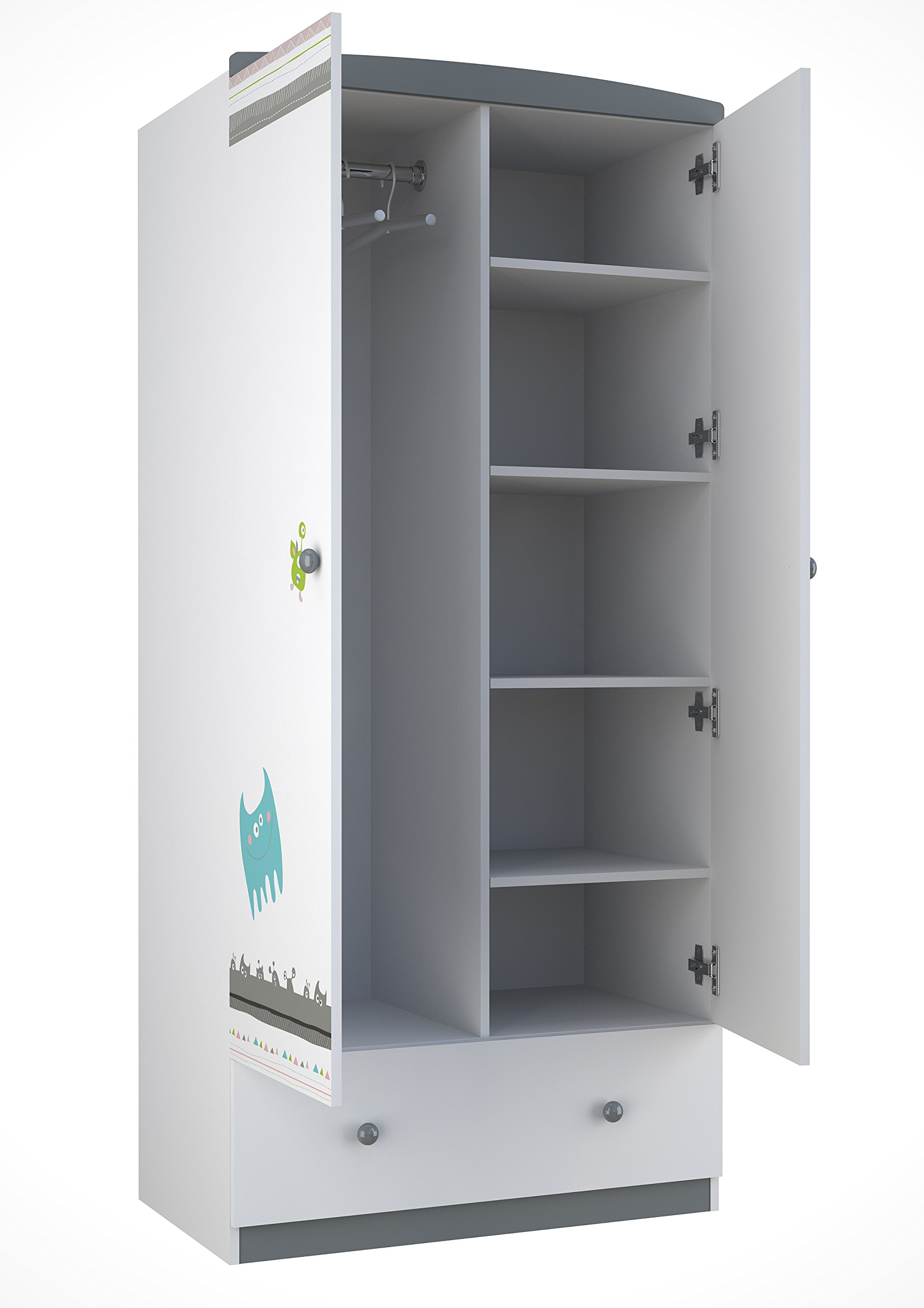 Polini Kids 0001189-2 Basic Collection 2-Sectioned Wardrobe W/Drawers, White-Grey Polini Kids Spacious wardrobe with two sections Made of MFC chipboard from KRONOSPAN (Austria) Comes with 4 shelves and 1 clothes rail 2