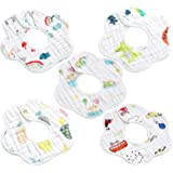 Kueh 5 Pack Baby Bib Saliva Towel, 6 Layer Can 360 degrees Rotate Petal Absorption back Bandana Bibs for Drooling